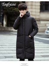 Mens long down jacket of 2018 new thick warm winter coat in black and white  228