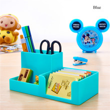 Mini Multifunctional Colorful Square Plastic Pen Holder House Office Stationery Desk Holder Makeup Cosmetic Large Receive Case