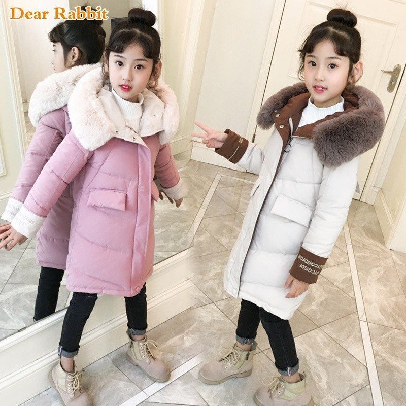 2019 Fashion Children Winter down cotton Jacket Girl clothing Kids clothes Warm Thick parka Fur Collar Hooded long Coats 3-13Y2019 Fashion Children Winter down cotton Jacket Girl clothing Kids clothes Warm Thick parka Fur Collar Hooded long Coats 3-13Y