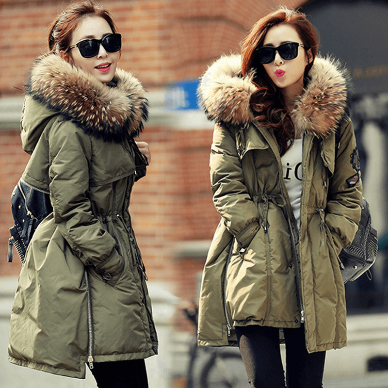Korean Fashion 2017 Autumn Winter Down Parkas Jacket Slim Waist Medium-long Thick Outwear Fur Collar Wadded Coat Female Overcoat
