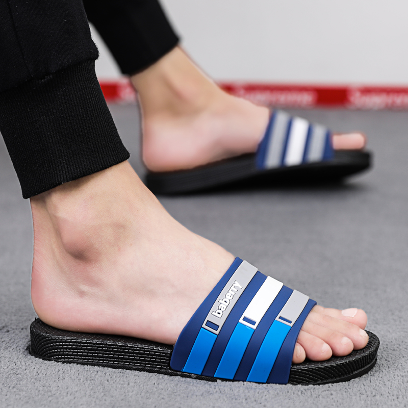 Home Shoes For Men Flat Bathroom Slippers Blue Red Seaside Sandals Slippers Summer Outdoor Walking Slides Fashion Casual Shoes in Slippers from Shoes
