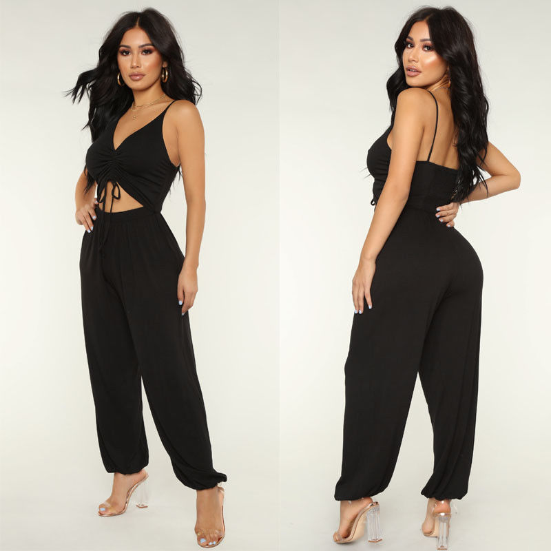 Ladies Summer Casual Spaghetti Strap V-Neck Backless Jumpsuits Long Wide Leg Outfits Rompers