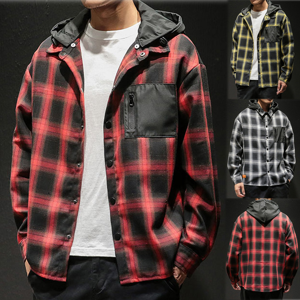 Men's Casual Hooded Jackets Fashion Plaid Printing Loose Hoodie High Quality Removable Long Sleeve Hip Hop Oversize Camisas Homb