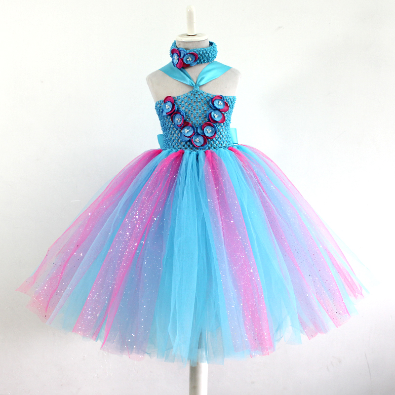 New Baby Girls Dresses Summer 2016 Princess Girls Tutu Dress Toddler Party blue Flower Dress Kids Clothes Vestido