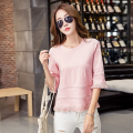 Autumn T-shirt Women Three Quarter Flare Sleeve Casual Tops New Arrivals O-neck Cute Tassel Korean Clothes Loose Tee Shirt Femme