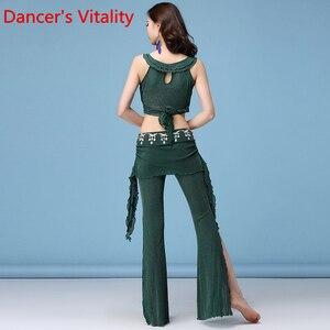 Image 4 - Trajes de danza del vientre a la moda para mujer 2 uds top + Pantalones para niñas horquilla pantskirt ropa de bailarina Latina