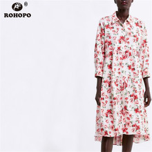ROHOPO Women Autumn Midi Dress Floral Printed Long Sleeve High and Low Mutilways Pleated Lantern Sleeve Dress Button #OYK9678 недорого