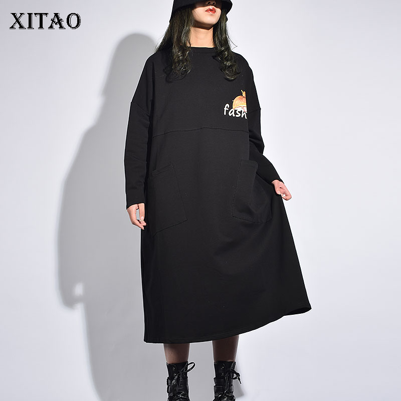 XITAO Casual Female Europe Fashion Dress 2019 Spring Summer New Loose Full Sleeve O Neck