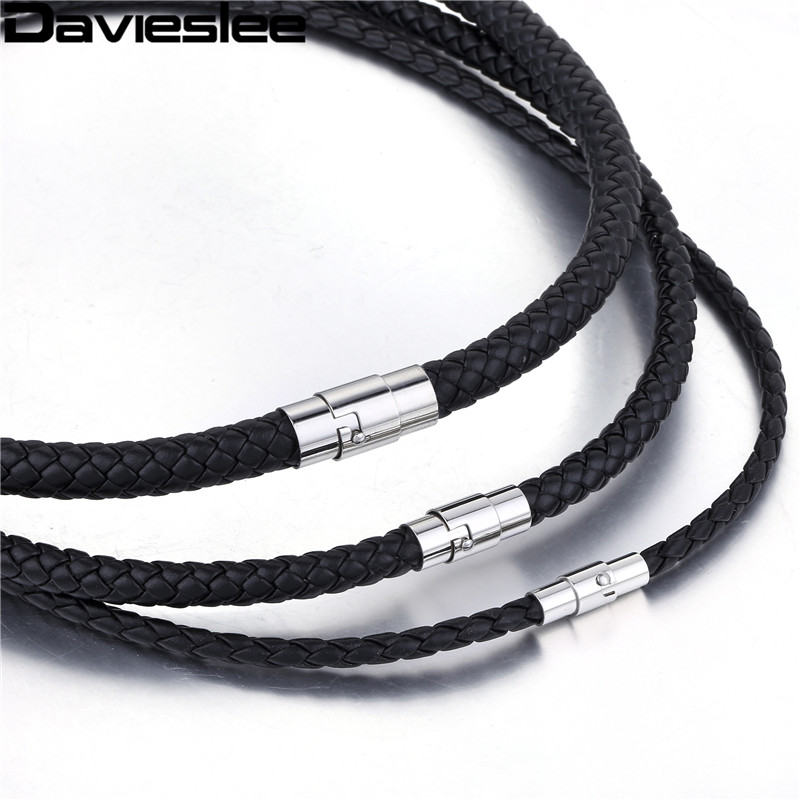 Davieslee Black Leather Necklace for Men Stainless Steel