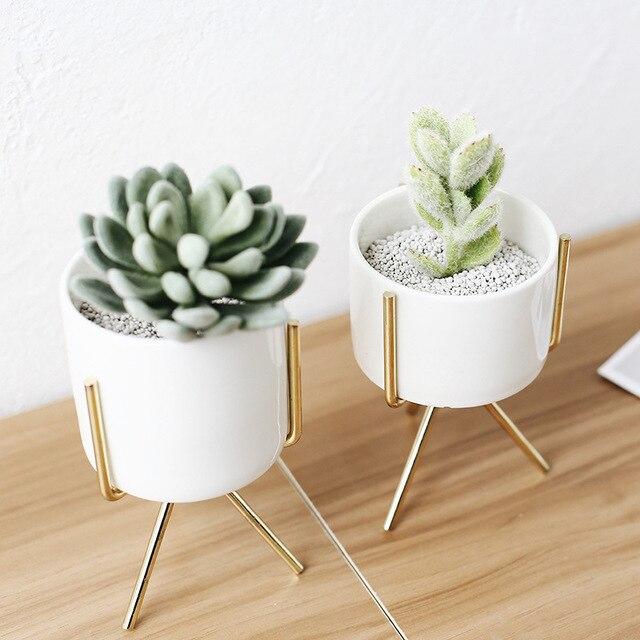 Modern white ceramic flower planters with iron stand camila home decor mightylinksfo