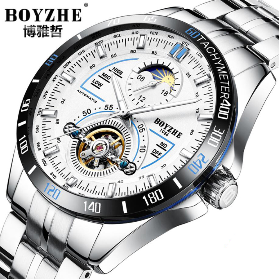 New Famous Brand Top Mens Watches Luxury Sports Military Watch Automatic Mechanical Stainless Steel Men Tourbillon Watch Relogio