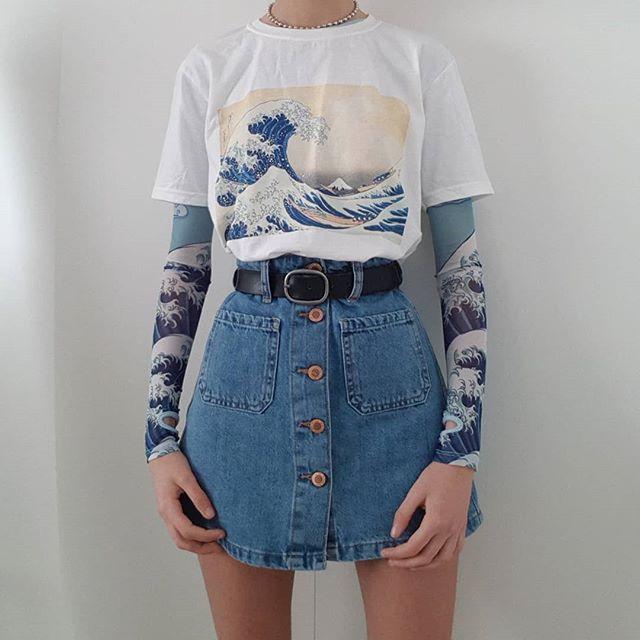 Fashionshow HJN Unisex Tumblr Fashion Hokusai Japanese Painting Under The Wave Off Kanagawa White TShirt Short Sleeve Cotton Tee