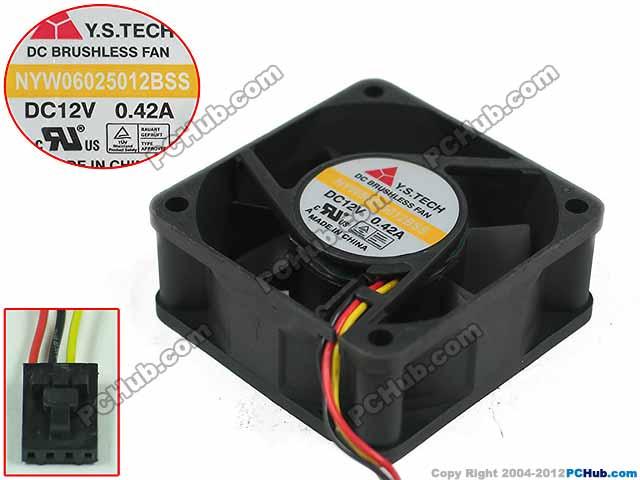 Emacro For Y.S TECH NYW06025012BSS DC 12V 0.42A 4 wire 60x60x25mm Server Square Fan