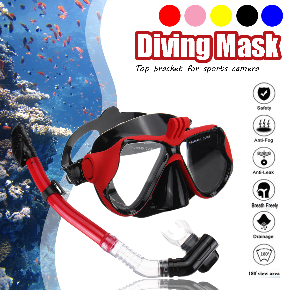 Popular SGODDE Professional Underwater Camera Diving Mask Dive Snorkel Swimming Goggles For GoPro Sports Camera Strap