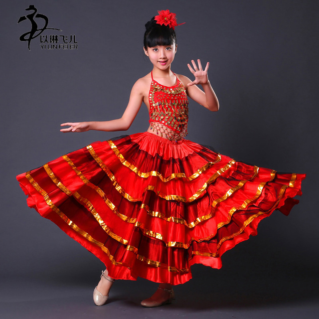 kinder spanischer tanz kleider flamenco kost me r cke f r m dchen bauchtanz gro en rock kost m. Black Bedroom Furniture Sets. Home Design Ideas