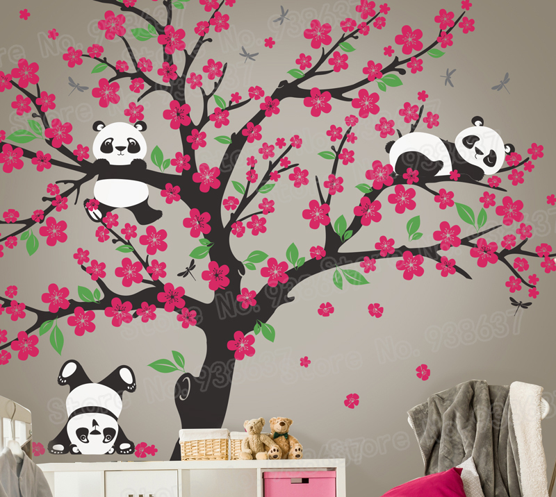 Panda Bear Cherry Blossom Tree Wall Decal For Nursery Vinyl Self Adhesive Stickers Flower Home Decor Bedroom Zb572 In From