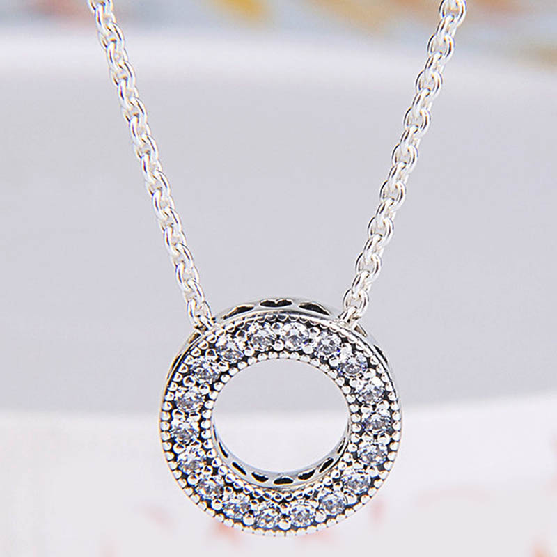 New 925 Sterling Silver Necklace Radiant Hearts Forever Collier With Crystal Necklace For Women Wedding Gift Pandora Diy Jewelry