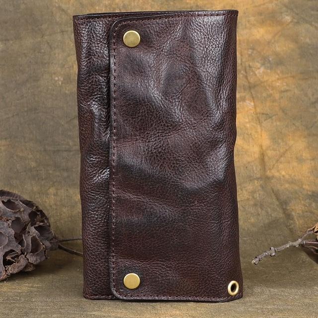Men Wallet Genuine Cow Leather Cowhide Clutch Bag Male Handmade Ruched Man Wallets Card Holder Original Vintage Luxury Purse
