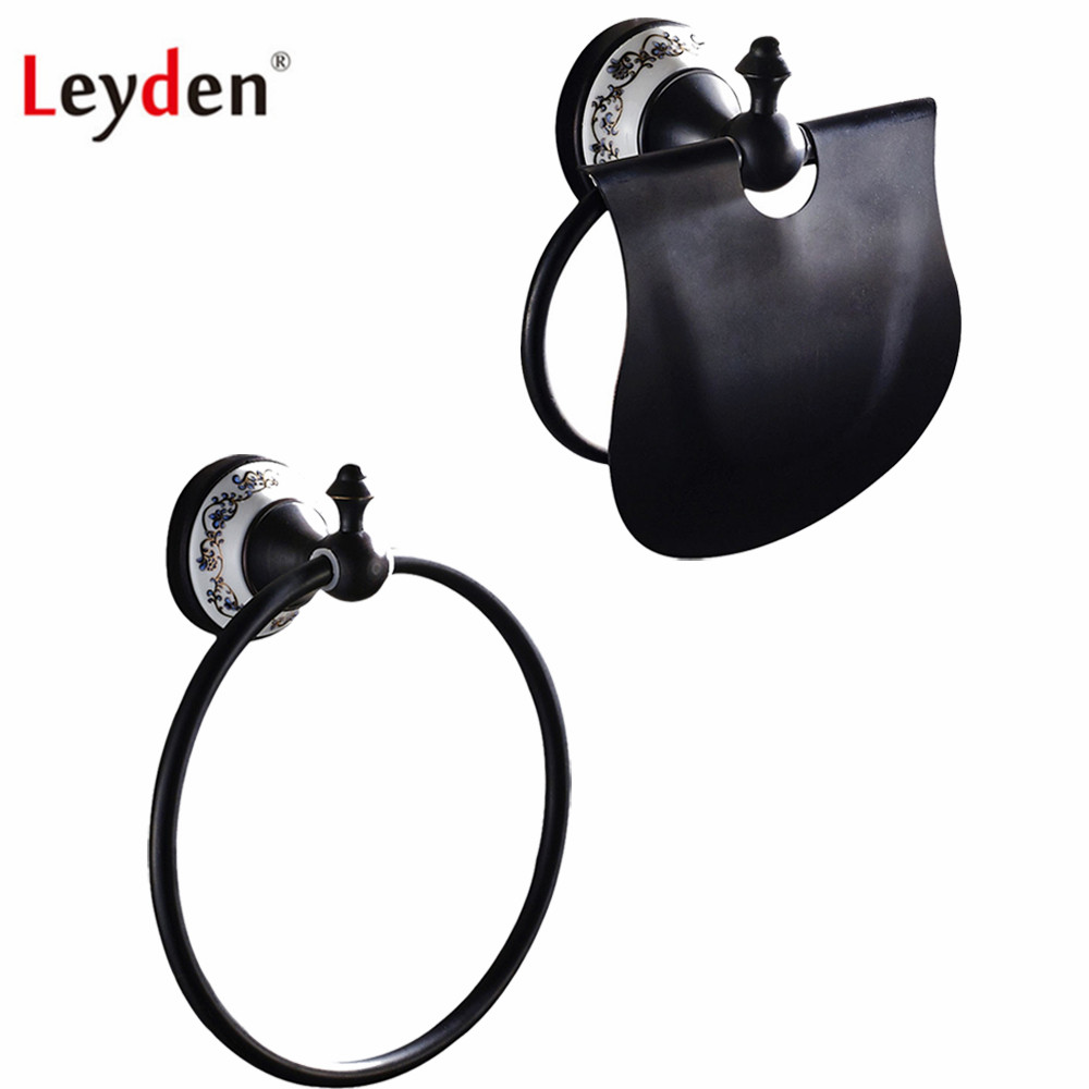 Leyden Black 2pcs Bath Hardware Sets ORB Brass Wall Mounted Towel Ring Towel Holder And Toilet Paper Holder For BathrommLeyden Black 2pcs Bath Hardware Sets ORB Brass Wall Mounted Towel Ring Towel Holder And Toilet Paper Holder For Bathromm