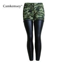 CamKemsey 3XL Plus Size PU Leather Patchwork Camouflage Jeans Woman Sexy Low Waist Stretch Skinny Jeans Female Slim Pants Capris