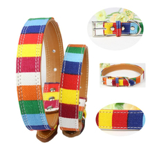 Colorful strip dog collar canvas + PU alloy buckle leashes pet accessories for small medium large anti-lost strips