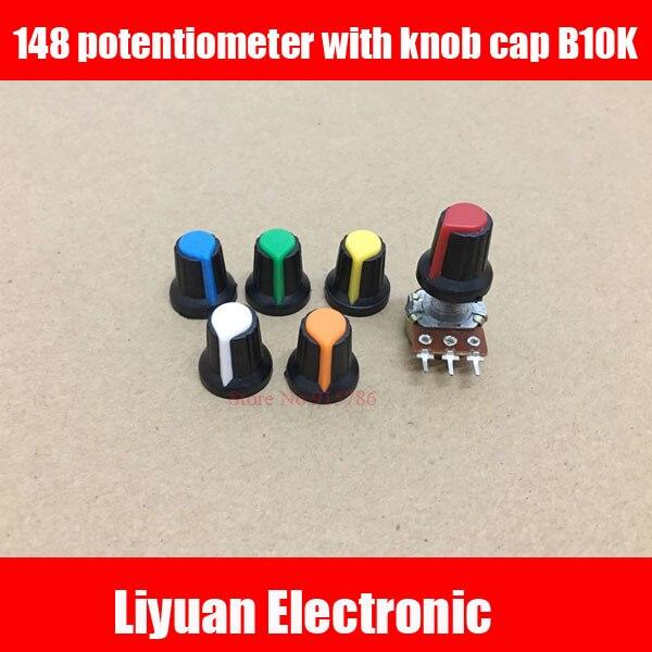 1set 6mm148 Potentiometer Knob Cap B10k Mixer Audio Volume Switch Plastic Knob Flower Shaft Handle Fader Cap Diversified In Packaging Potentiometers