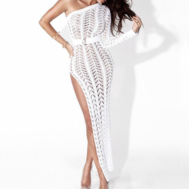 Crochê de um Iasky 2018 Ombro Long Beach Vestido Mulheres Sexy Oco Out Capa Ups Alta Dividir Bikini Swimsuit Cover up Túnica