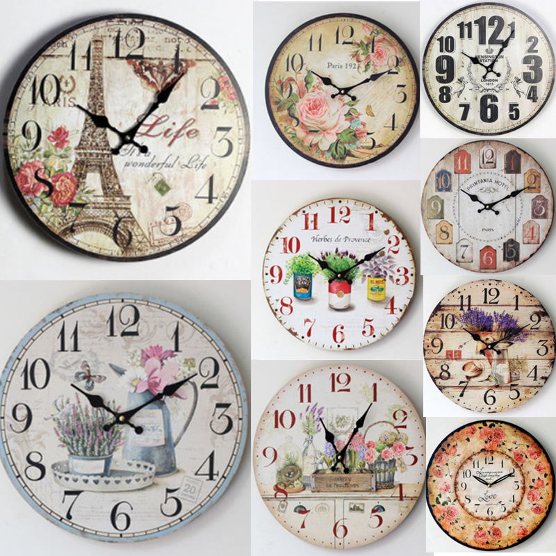 Antique Vintage Rustic Wood Wall Clock On The Wall For Home Decor Large Wall Clock Different Styles For Your Choice