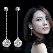 2016 new arrival fashion Shambhala crystal 925 sterling silver ladies`long drop earrings jewelry birthday gift