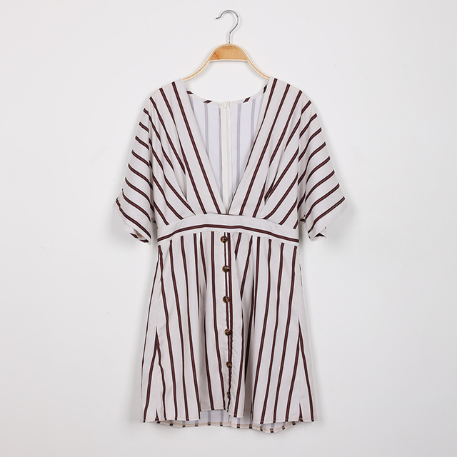 New Fashion 2019 Women Party Dress Night Club Deep V Neck Striped Batwing Sleeve Laides Casual Loose Mini Shirt Dresses 3