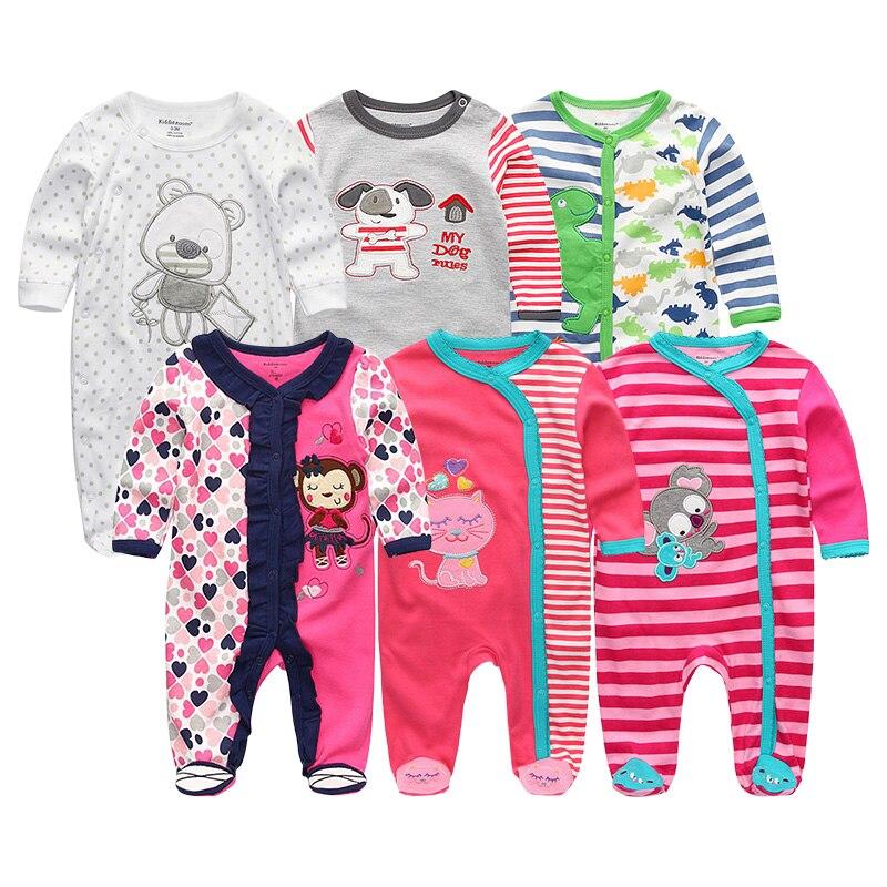 Noworodków Dziewczynek i Chłopców Pajacyki 6 Sztuk / partia - Odzież dla niemowląt - Zdjęcie 5