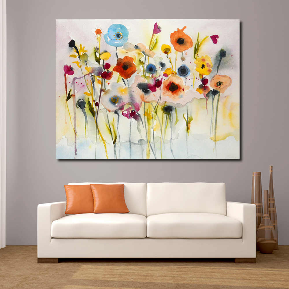 JQHYART Abstract Red Yellow Blue Modern Wall Pictures For Living Room Painting Wall Painting Picture Canvas Art No Frame