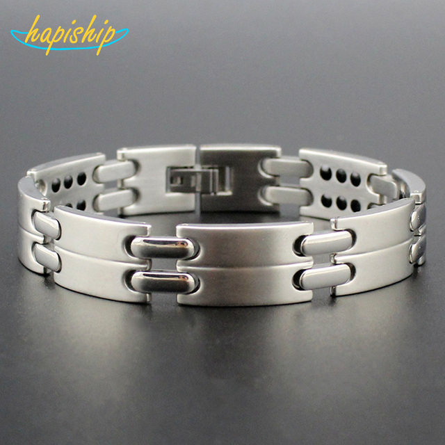 Hapiship 2017 New Men's Power Bracelet 42 Germanium Energy 316L Stainless Steel Bracelet Bangle For Man Free Shipping TG4115
