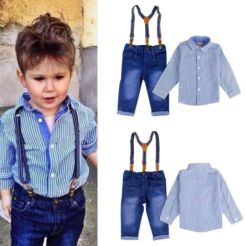 6331a4b82cf Baby Boy Suspender Gentlement Suits Overalls Jeans+ Striped Full Shirt 2  Pieces Kid Spring Clothing Sets for Party Children Sets-in Clothing Sets  from ...