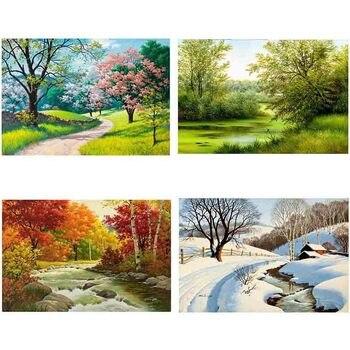 Diy 5d Elmas Boyama Manzara Dört Mevsim Resim Rhinestones El Yapımı