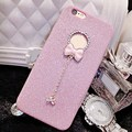 Fashion Luxury Bling Crystal Bowknot Pendant Shine Glitter Powder Soft TPU Back Case Phone Cover for iPhone 5S SE 6 6S Plus