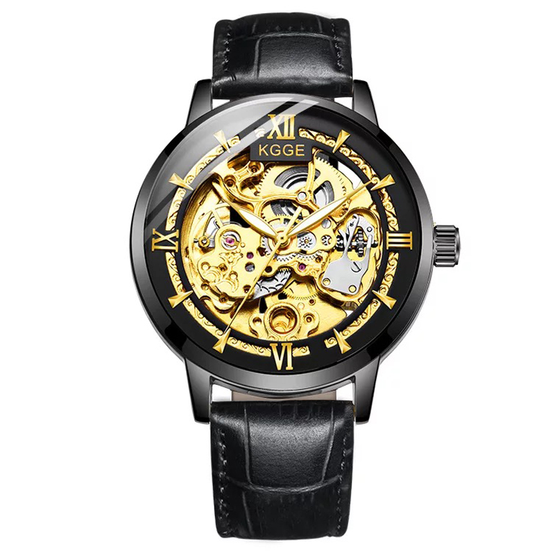 2018 Top Brand Men Black Gold Watches Automatic Mechanical Watch Male Skeleton Wristwatch Leather Band Luxury Sports Design все цены