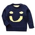 QUIKGROW Премиум Толщиной Теплый Нейтральный Детские Свитера Мальчик в Девочке Младенческая С Длинным Рукавом Темно-Синий Пуловер Симпатичные Улыбкой Лицо Перемычки YM17MY