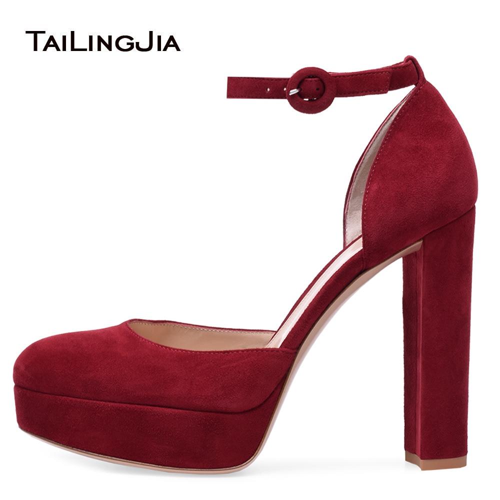 Women Platform Heels Red High Heel Pumps Round Toe Chunky Heel Ankle Strap Dress Heels Black Suede Ladies Summer Shoes Plus Size plus size asymmetric hem spaghetti strap dress