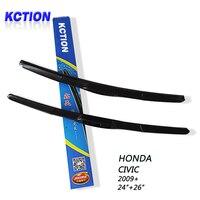 Car Windshield Wiper Blade For HONDA CIVIC 2009 24 24 Natural Rubber Three Segmental Type