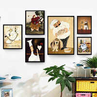 Pas de cadre moderne dessin animé heureux chef joueur de golf impressions sur toile peinture à l'huile imprimé sur coton maison mur art décoration photo
