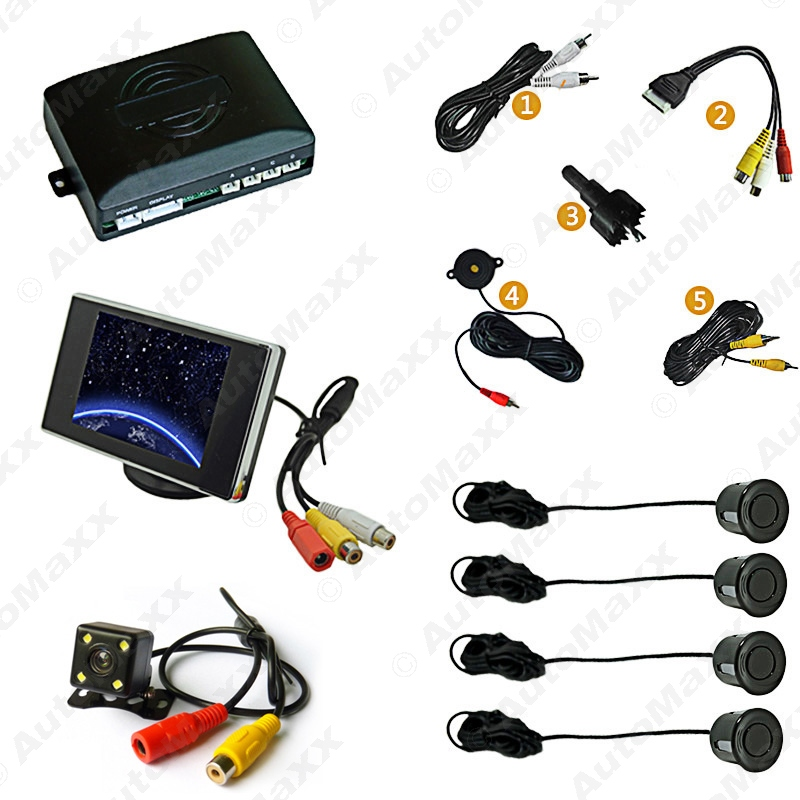 ФОТО Black Car 4-sensor Parking Sensor With 3.5inch Monitor and 4-LED CCD Camera Rear View Reversing System #J-2760