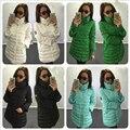 2016 Casacos de Inverno 5 Das Mulheres de Cor Algodão-Acolchoado Jacket Cristal Botão Fino Engrossar Casacos Casaco Longo Amassado Plus Size