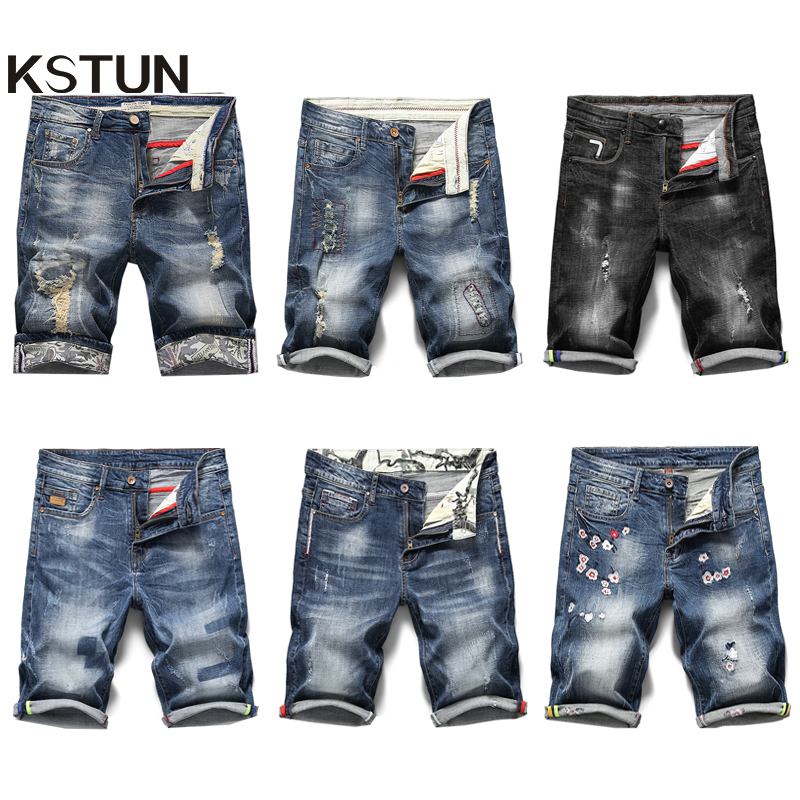 KSTUN Men   Jeans   Shorts Ripped Stretch Slim Fit Trendy Denim Short Streetwear Hiphop Distressed Frayed Male Biker Moto   Jeans   38