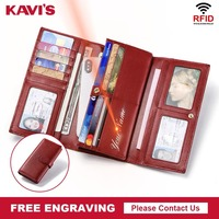 KAVIS Free Engraving Genuine Leather Women Wallet Portomonee Walet Coin Female Lady Long Handy Purse Money Card Holder Gifts