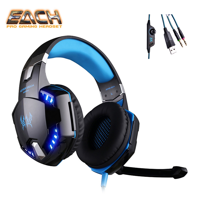KOTION EACH Earphones gaming headset Headphone For Computer 3.5mm plug wired gaming headset with microphone earphones big pc brand new big wired ps4 gaming headset earphones with microphone headphone for ps4 games