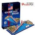 Candice guo! Brinquedo quebra-cabeça 3D CubicFun 3D modelo de papel jogo de ouro de ponte
