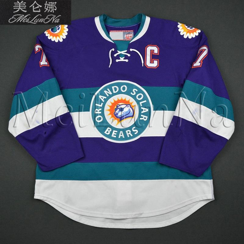 MeiLunNa Custom ECHL Orlando Solar Bears Hockey Jerseys 3 Nielsen 7 Eric Baier 27 Eric Faille Home Road Sewn Any Name NO.Size eric antoine bordeaux