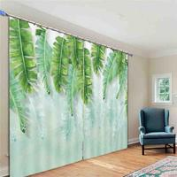 Fresh banana leaves 3D Window Curtains Living Room bedroom Drapes Rideaux factory Customized size shower Shading cloth