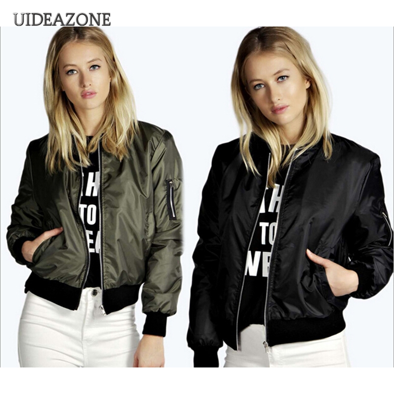 2018 Spring Autumn Women Thin   Jackets   Tops   Basic   Bomber   Jacket   Long Sleeve Coat Casual O-neck Collar Slim Fit Outerwear